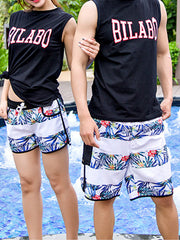 Striped Tropical Plants Pattern Couple's Beach Shorts Blue