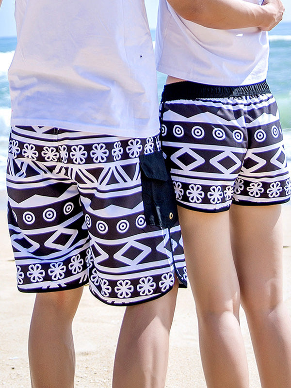 Black and White Rhombus Pattern Couple's Beach Shorts