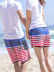 Trendy USA Flag Pattern Couple's Beach Shorts