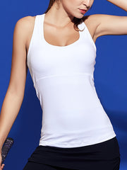 LikeBunny See Through Mesh-Mix Racerback Sports Tank White