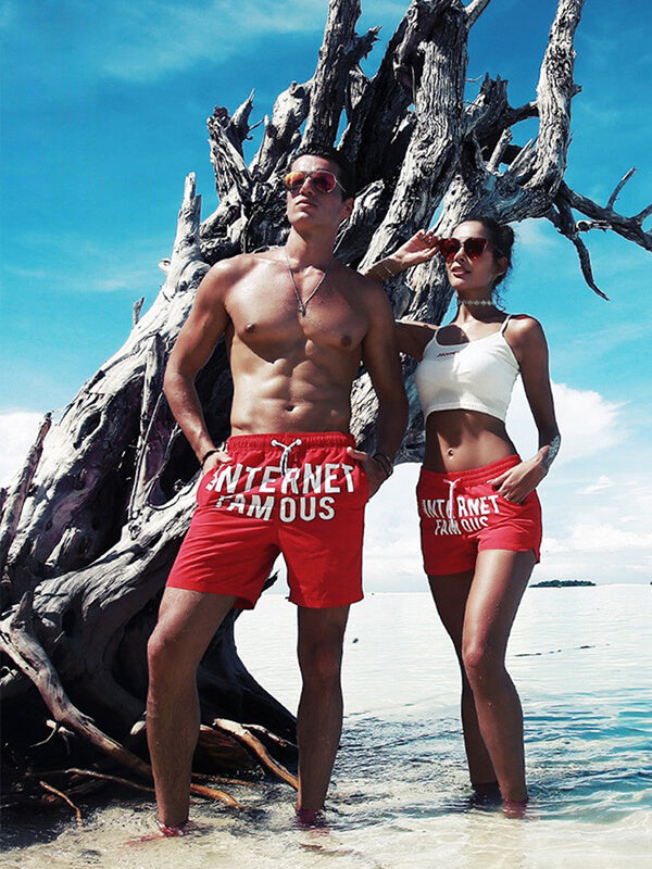 Couple's Red Summer Beach Shorts