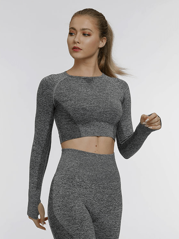 LikeBunny Running For That Long Sleeve Crop Top