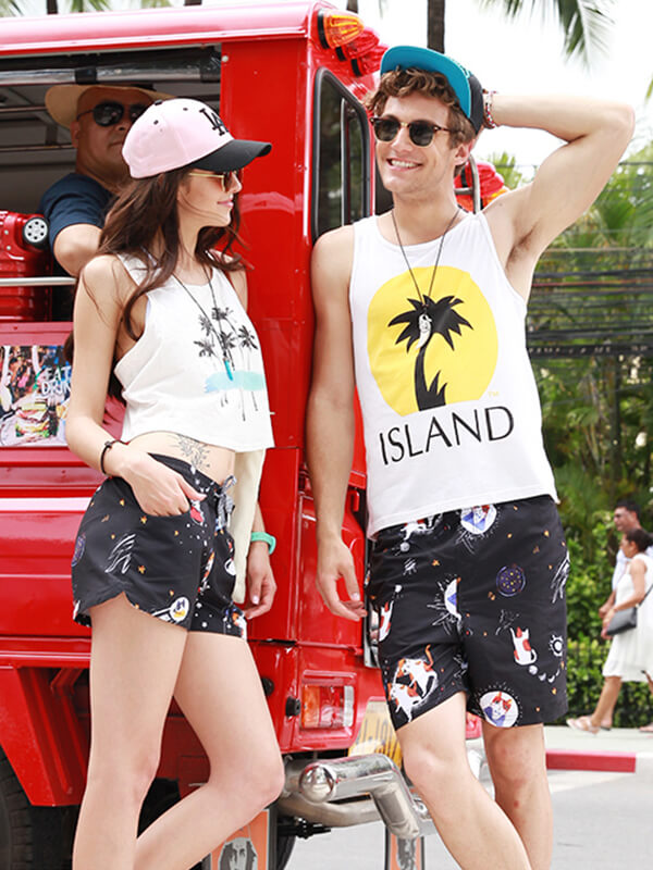 LikeBunny Cat Printed Couple's Beach Shorts