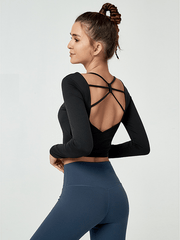 LikeBunny Slow Donw Long-sleeve Crop Top