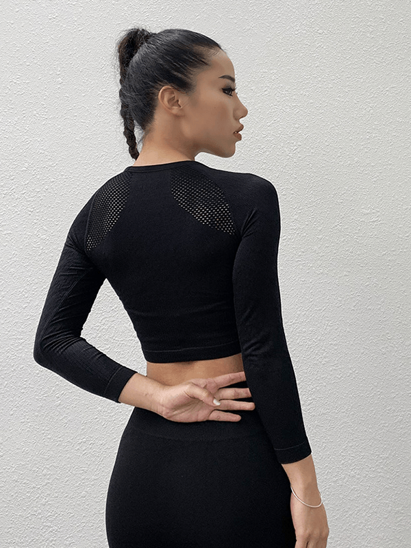 LikeBunny Feel Empowered Long Sleeve Crop Top