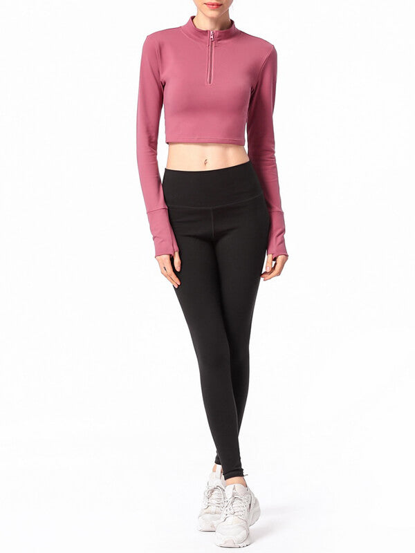LikeBunny 1/2 Zip Long Sleeve Crop Top