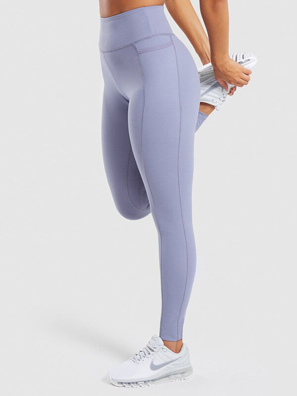 "LikeBunny Colorlove Tight Sports Leggings with Pocket 28"" Purple"
