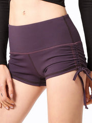 "LikeBunny Ruched Sides Tight Sports Shorts 2"" Purple"