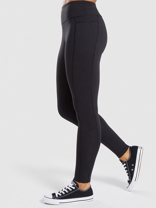 "LikeBunny Colorlove Tight Sports Leggings with Pocket 28"" Black"