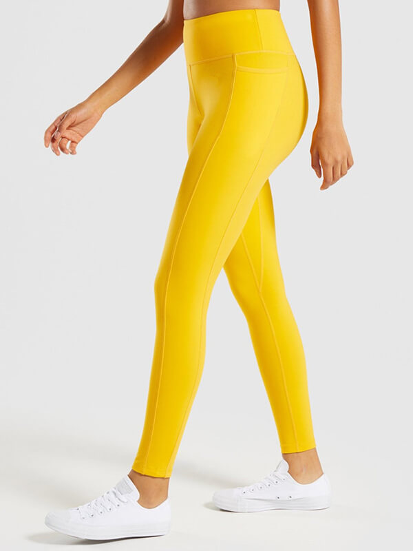 "LikeBunny Colorlove Tight Sports Leggings with Pocket 28"" Yellow"