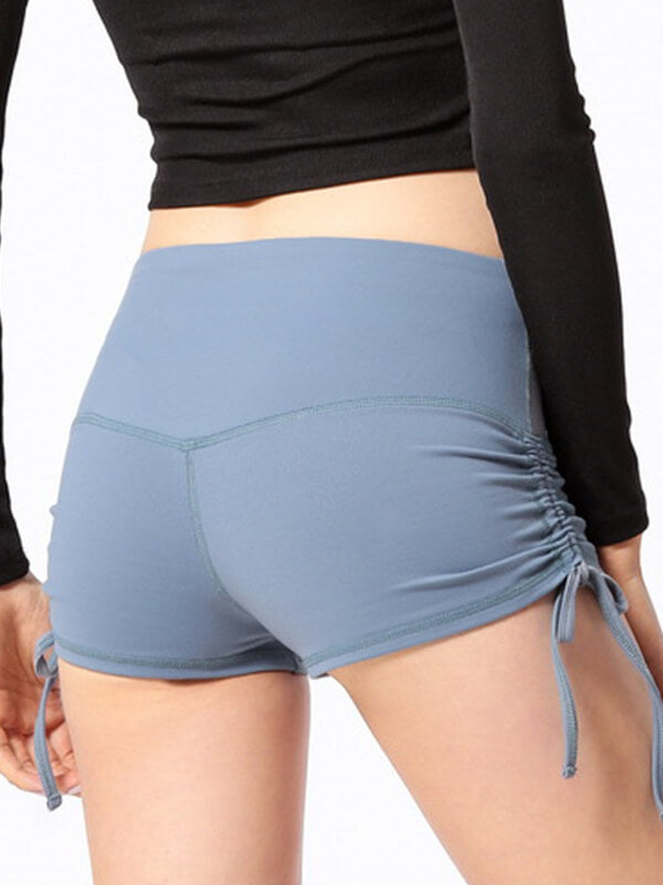 "LikeBunny Ruched Sides Tight Sports Shorts 2"" Powder Blue"