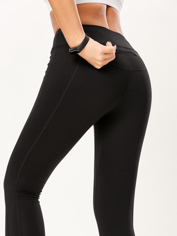 "LikeBunny Colorlove Sports Leggings with Back Zipper Pocket 28"" Black"