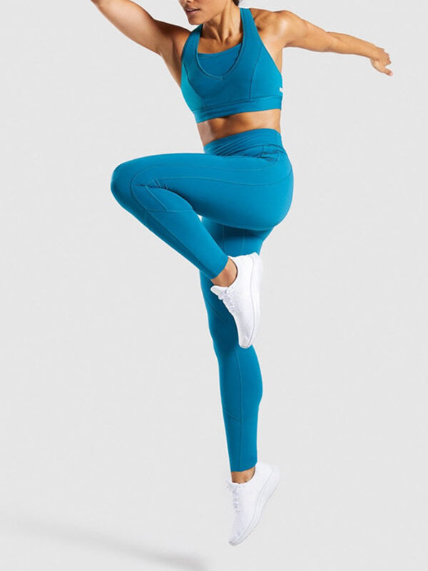 "LikeBunny Colorlove Sports Leggings with Back Zipper Pocket 28"" Blue"