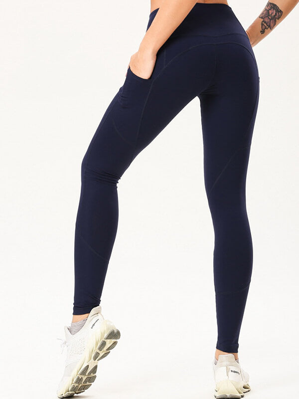 "LikeBunny Tight Sports Leggings with Pocket 28"" Navy"