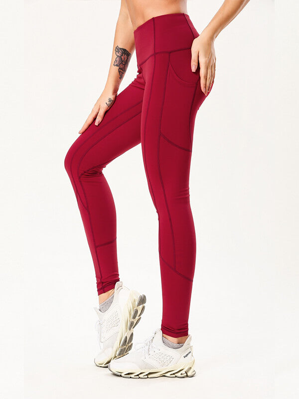 "LikeBunny Tight Sports Leggings with Pocket 28"" Red"