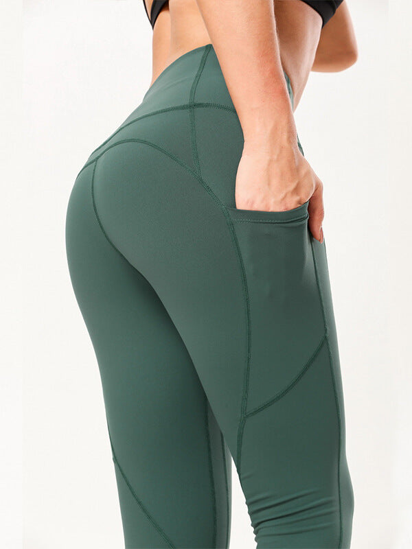 "LikeBunny Tight Sports Leggings with Pocket 28"" Green"