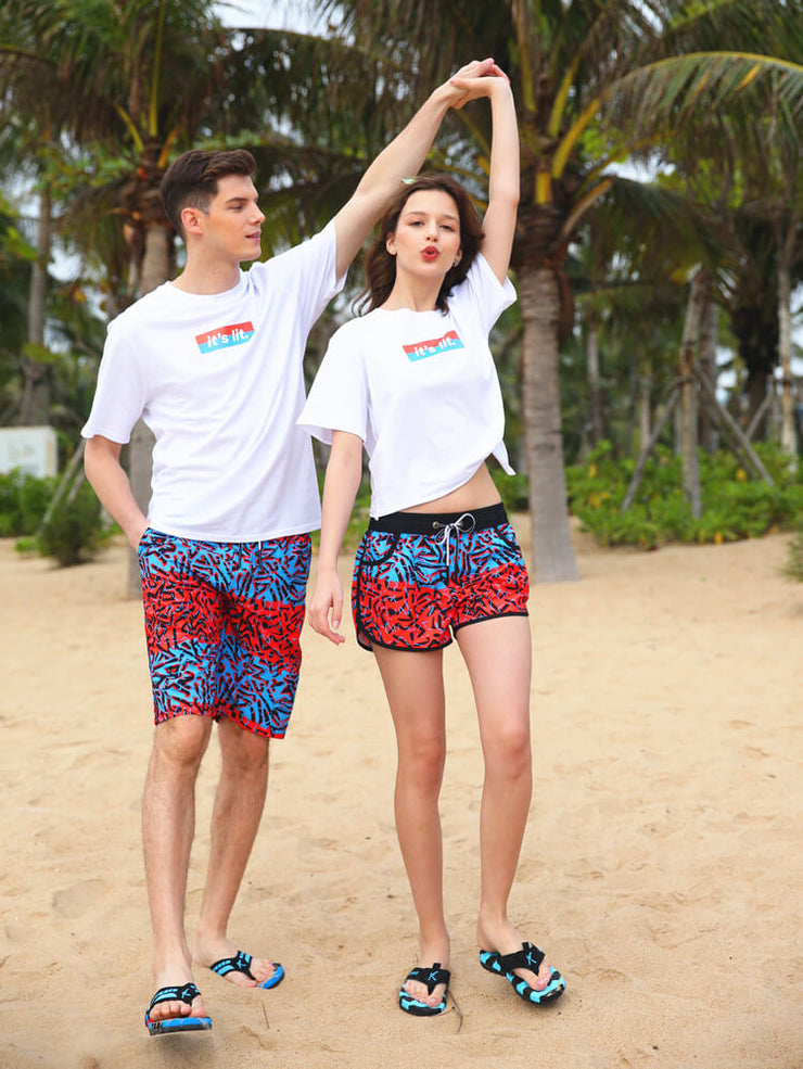 Colorful Water Drop Pattern Couple's Beach Shorts