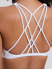 LikeBunny Gathering Cross Back Light Impact Sports Bra White