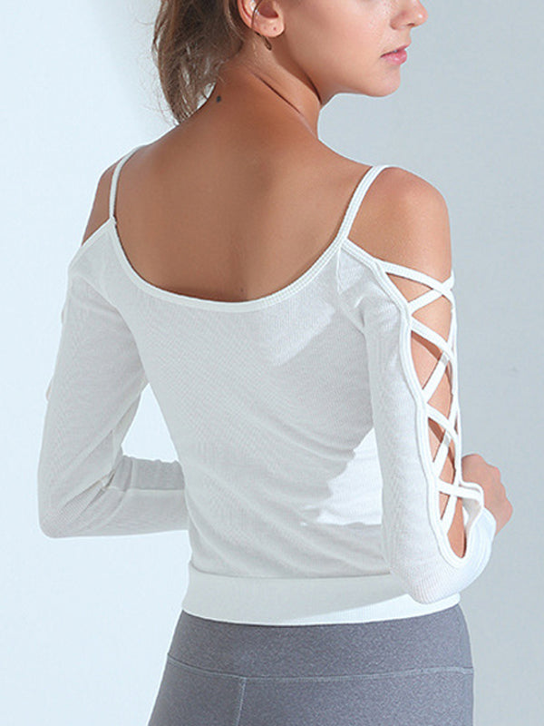 Women's Workout Cross Decor Long-sleeve Sports Top White
