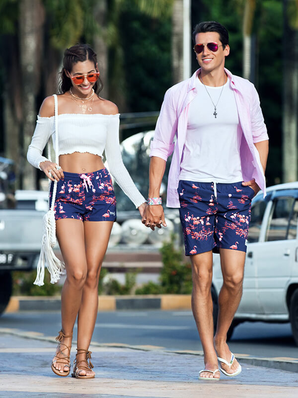 LikeBunny Couple's Flamingo Lake Beach Shorts