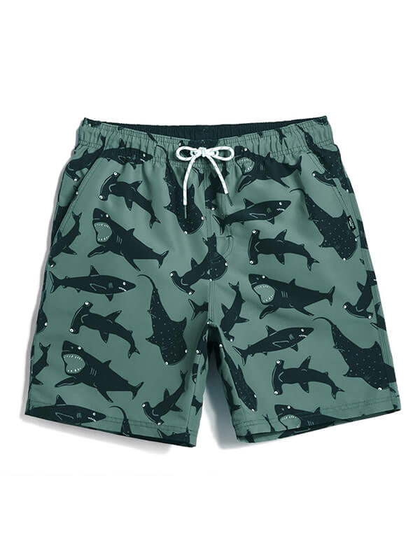 LikeBunny Couple's Shark Beach Shorts - Green