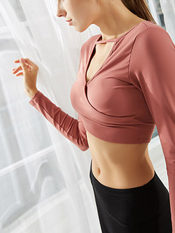 Slim Fit Workout Yoga Activewear Crop Long-sleeve Top