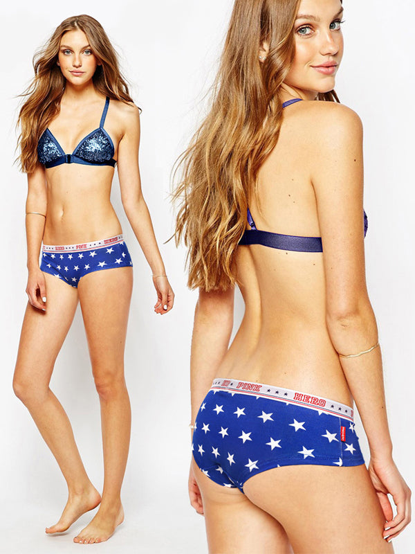 Fashion America Flag Theme Prints Couple's Underwear Blue White Star Women