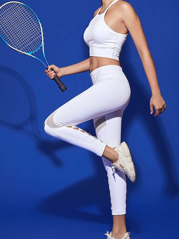 LikeBunny High-Rise Mix Mesh White Sports Leggings