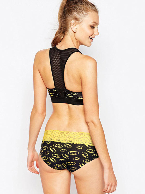 Hot-selling Super Hero Printed Couple Underwear Batman Yellow Black Women Lace