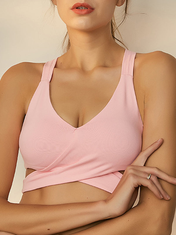 Stylish Women's High Impact Support Workout Sports Bra Pink