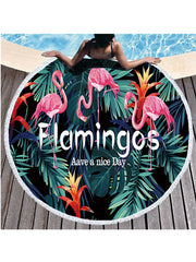 Stylish Flamingo Plants Pattern Tassel Round Beach Towel Letter Flowers Green