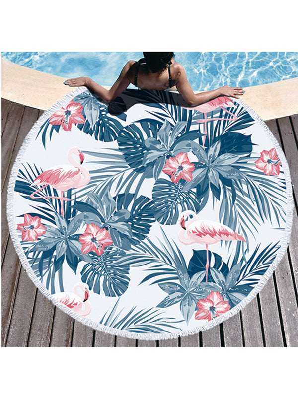 Chic Flamingo Plants Prints Tassel Round Beach Towel Monstera Deliciosa