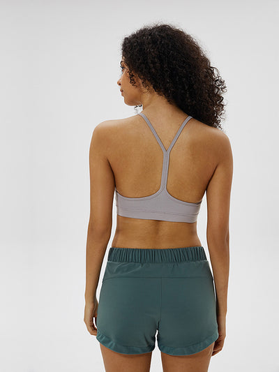 LikeBunny Flow Y Bra Medium Impact Sports Bra gris morado