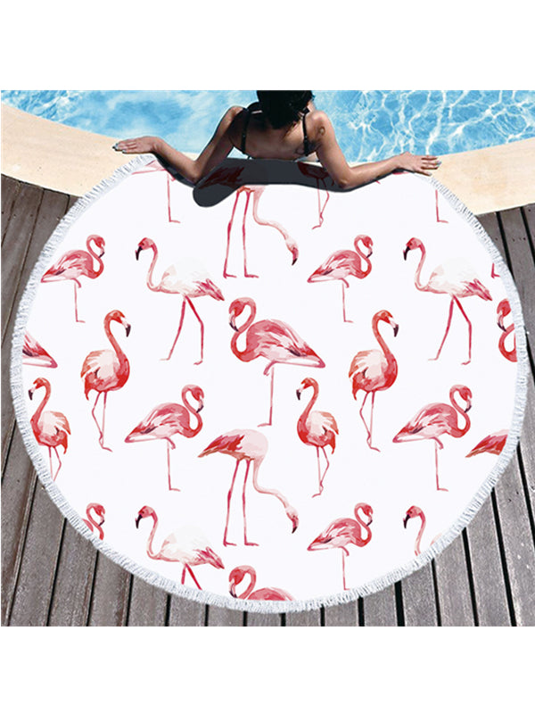 Soft Flamingo Plants Prints Tassel Round Beach Towel White Pink