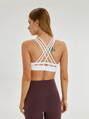 LikeBunny Cross Back Thin Belt Medium Impact Sports Bra