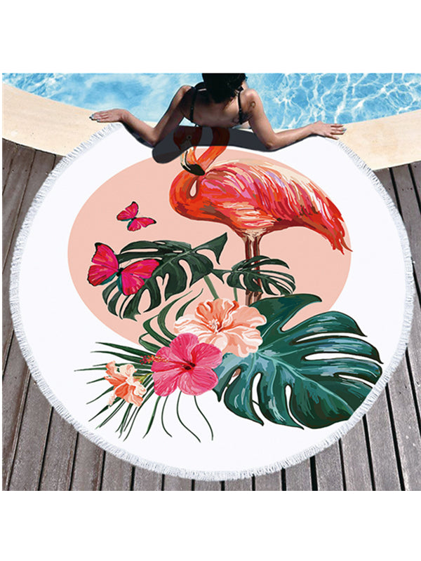 Flamingo Flowers Prints Tassel Round Beach Towel Tropical Plants Butterfly