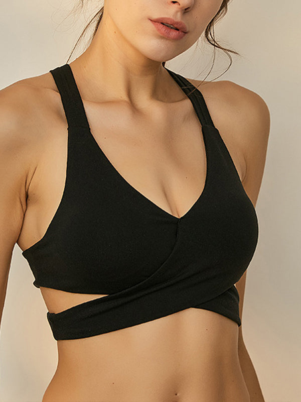 Stylish Women's High Impact Support Workout Sports Bra Black