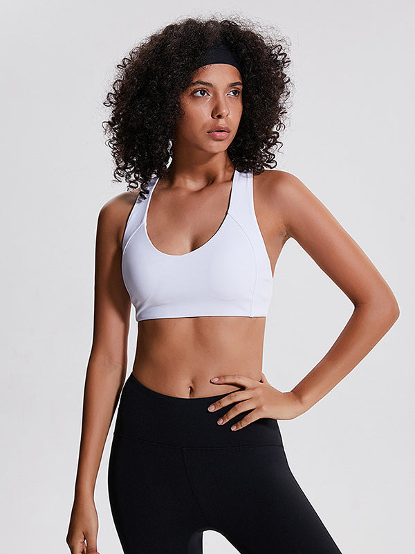 LikeBunny Laser Focused Medium Impact Sports Bra white