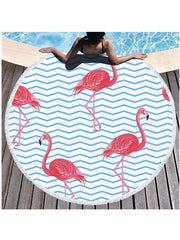 Flamingo Plants Geo Prints Tassel Round Beach Towel Light Blue Wave