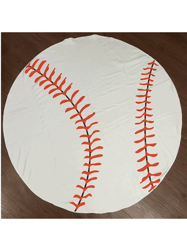 Stylish Baseball Tassel Round Beach Towel White