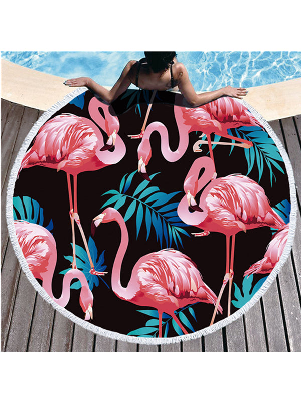 Flamingo Plants Prints Tassel Round Beach Towel Tropical Black Background