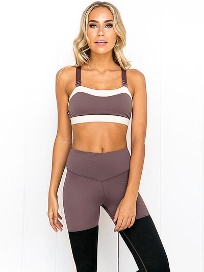 Women's Contrast Stitching Yoga Sports Suit