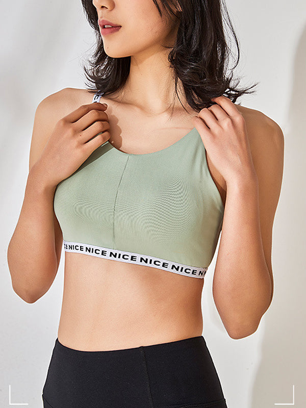Women's Letter Prints Decor High Impact Support Workout Sports Bra Green
