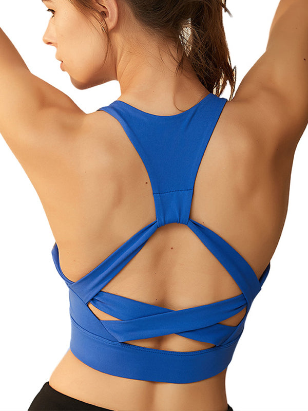 Cross-strap Decor Women's High Impact Support Workout Sports Bra Blue