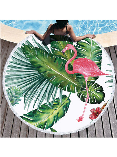 Flamingo Tropical Flowers Prints Tassel Round Beach Towel Banana Leaf