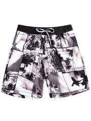 Couple's Beach Shorts in Black & White Dot Print