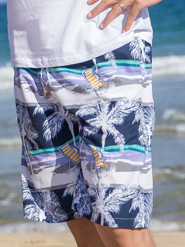 Island Tropical Plants Pattern Couple's Beach Shorts Blue Coconut Tree Men