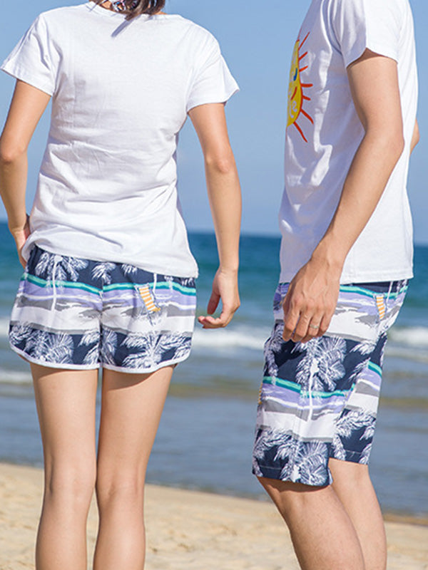 Island Tropical Plants Pattern Couple's Beach Shorts Blue Coconut Tree