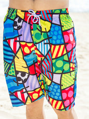 Colorful Block Geo Pattern Couple's Beach Shorts Men