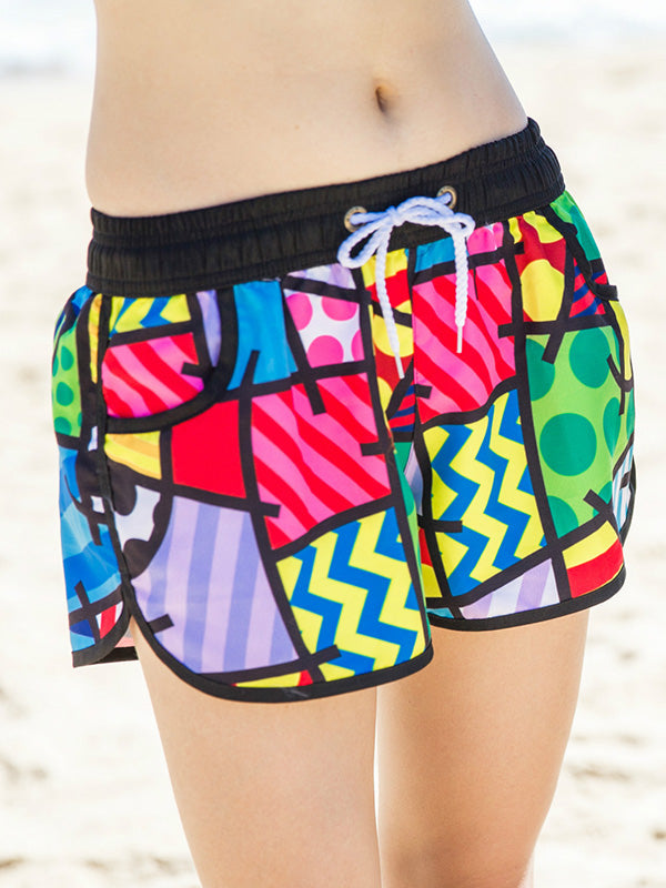 Colorful Block Geo Pattern Couple's Beach Shorts Women